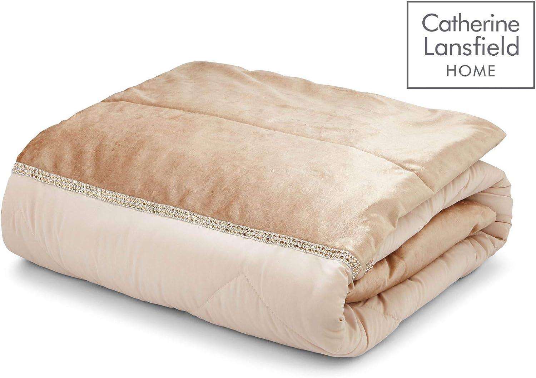 Catherine Lansfield Couvre-lit en Velours avec Strass Dor/é 240 x 260 cm