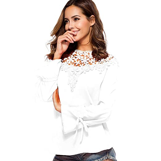 005e76f267a Froomer Lace Hollow Out Shoulder Shirt Long Ruffle Sleeve Casual Chiffon  Tops and Blouses