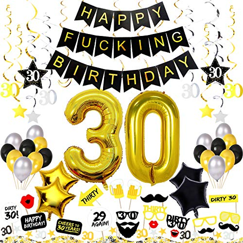 tions Kit 82 Pieces - Happy Fcking Birthday Banner, 40-Inch 30 Gold balloons, Sparkling Hanging Swirls, Photo Booth Props, Confetti for Table Decorations, Birthday Plan Checklist ()