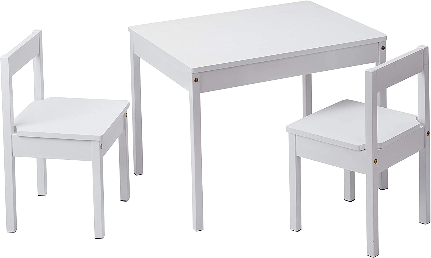 AmazonBasics Solid Wood Kiddie Table Set with Two Chairs, White