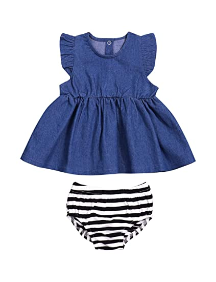 d8134dc3bd94 Infant Baby Girls Clothes Ruffle Sleeveless Blue Denim Smocked Dresses  Striped Bloomers Newborn Girl Clothes (