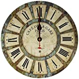 12-inch Wooden Clock, Eruner Vintage Wood Wall Clock – [Cafe De La Gare] Retro Style France Paris London Country Non-Ticking Silent Wooden Wall Clock (#03) For Sale