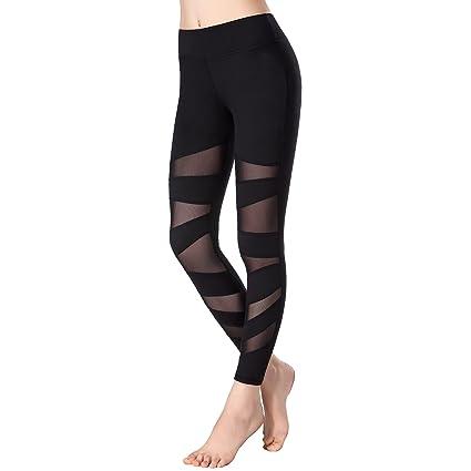 ae5ae46b61e999 newlashua Women's Mesh Workout Leggings Active Gym Tights Sports Yoga Pants  S Black