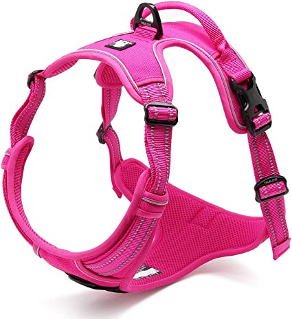Breathable Padded Handle Harness for No Pull Training Walking M: 22-27in, Black LEMON PET Dog Harness with Front Clip Reflective Outdoor Adjustable Nylon Vest for Small Medium Large Dogs