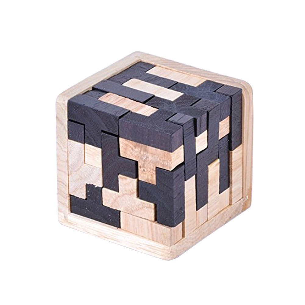 3D Wooden Brain Teaser T-shaped Tetris Blocks Geometric Puzzle Educational Toy for Kids and Adults Unbekannt