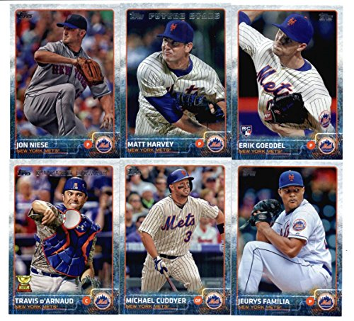 2015 Topps Baseball Cards New York Mets Team Set In Storage Case (Series 1 & 2 - 25 Cards) Including Curtis Granderson Team Card, David Wright, Jacob deGrom, Daisuke Matsuzaka, Daniel Murphy, Jenrry Mejia, Carlos Torres, Eric Young Jr., Zack Wheeler, Lucas Duda, Dilson H