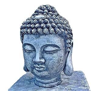 Figura de piedra Piedra de cabeza de Buda Feng Shui Busto maciza Escultura 30cm jardín macizo de piedra