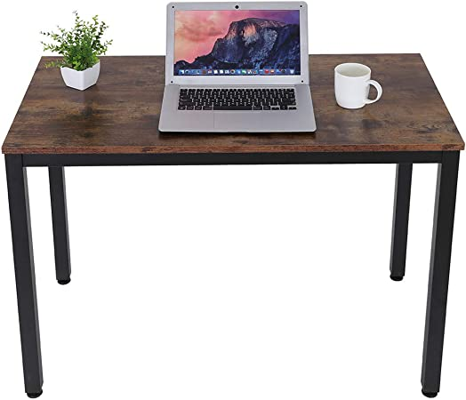 Goldye Computer Desk, 40 Laptop Table Modern Sturdy Office Desk Study Writing Desk for Home Office Brown