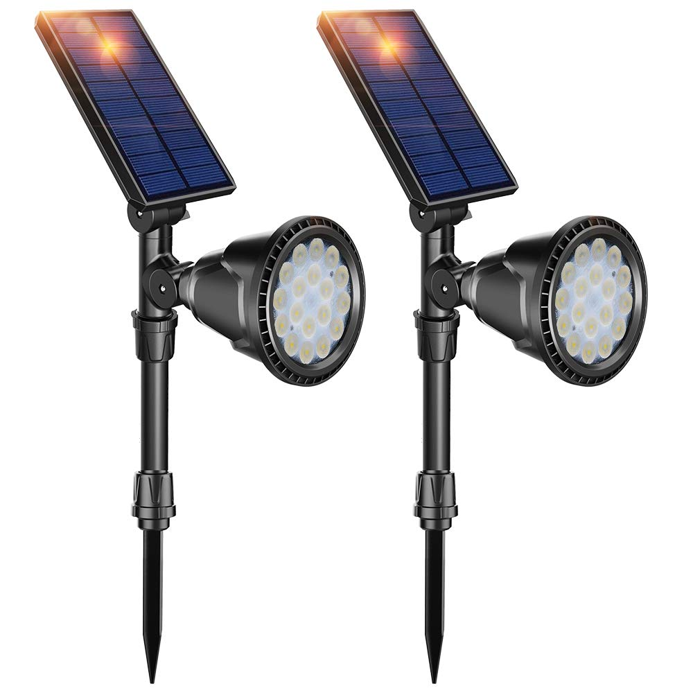 DBF Solar Lights Outdoor, Latest 18 LED Waterproof Solar Spotlights Solar Landscape Lights Auto On/Off Wall Security Lighting for Garden Yard Pathway Driveway Pool Landscaping, Pack of 2 (Cool White)