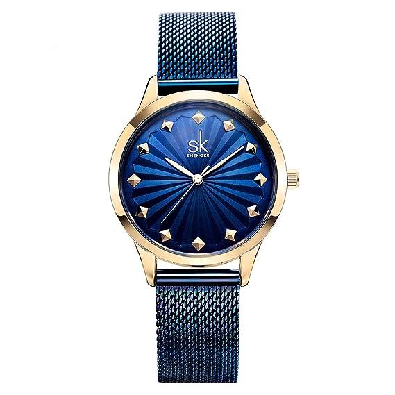 Shengke - Reloj de pulsera para mujer, elegante y moderno, correa de malla,