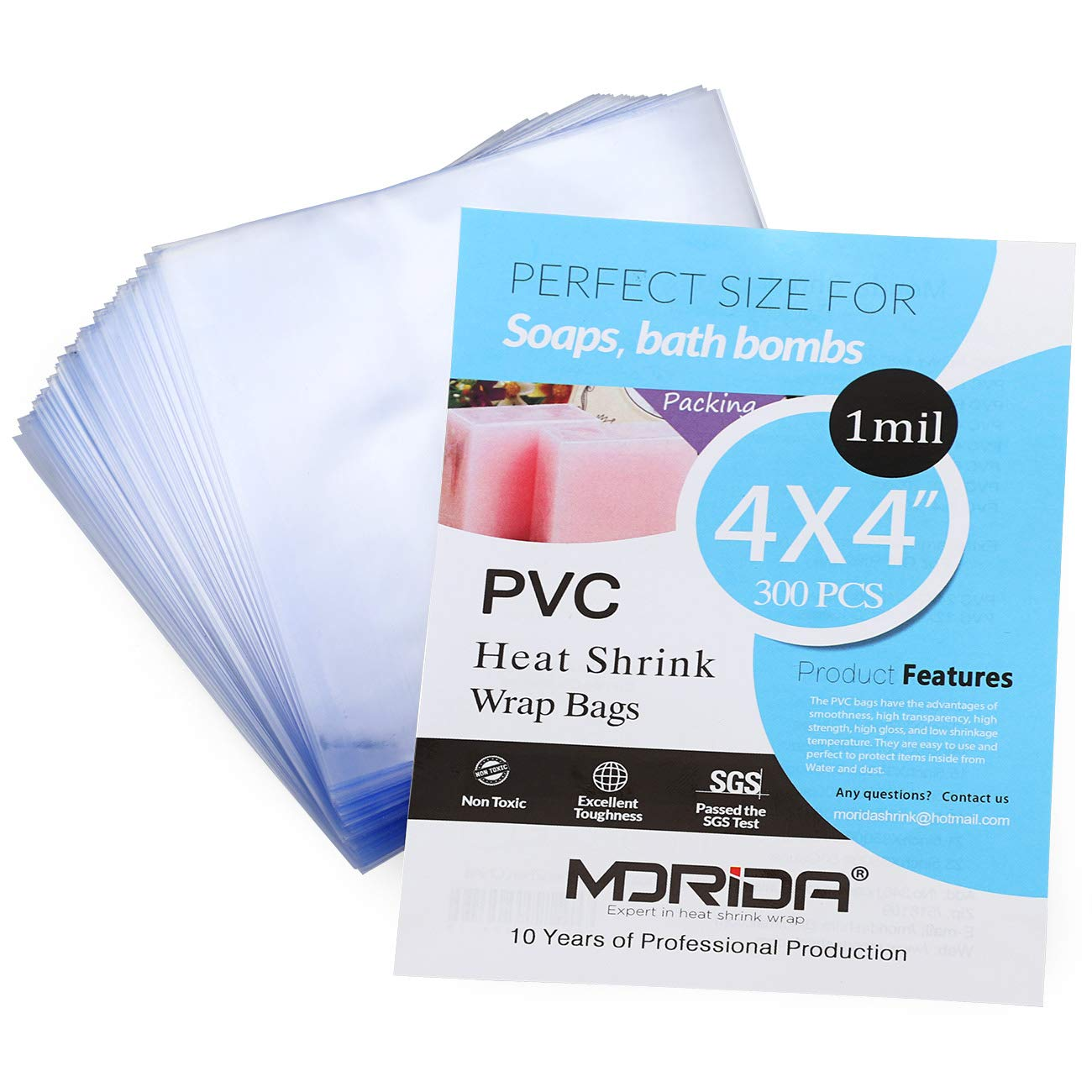 MORIDA 300 pcs 4X4 inch Small Heat Shrink Wrap Bags Tiny PVC Wrappers for Soaps,Cookies, and DIY Handmade Crafts, Food Safety Quality