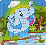 Layhome Puzzle 20 Pieces Wooden Puzzles Baby Kids Learning Jigsaw Puzzles Forest Animal (elephant)