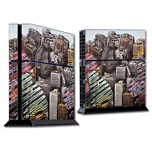 (MightySkins Skin for Sony PS4 Console - Big City Monkey | Protective, Durable, and Unique Vinyl Decal wrap Cover | Easy to Apply, Remove, and Change Styles | Made in The USA)