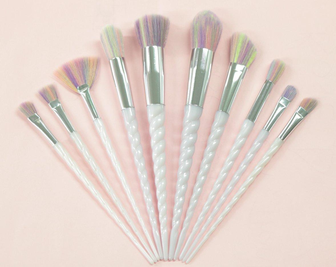 10pièces de pinceaux Licorne, Lot de brosse de maquillage à lèvres, fard à paupières, poudre, cosmétique, fond de teint
