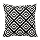 Geometric Black and Cream Pattern Decorative Pillow Cover Cushion Case with Hidden Zipper For Living Room