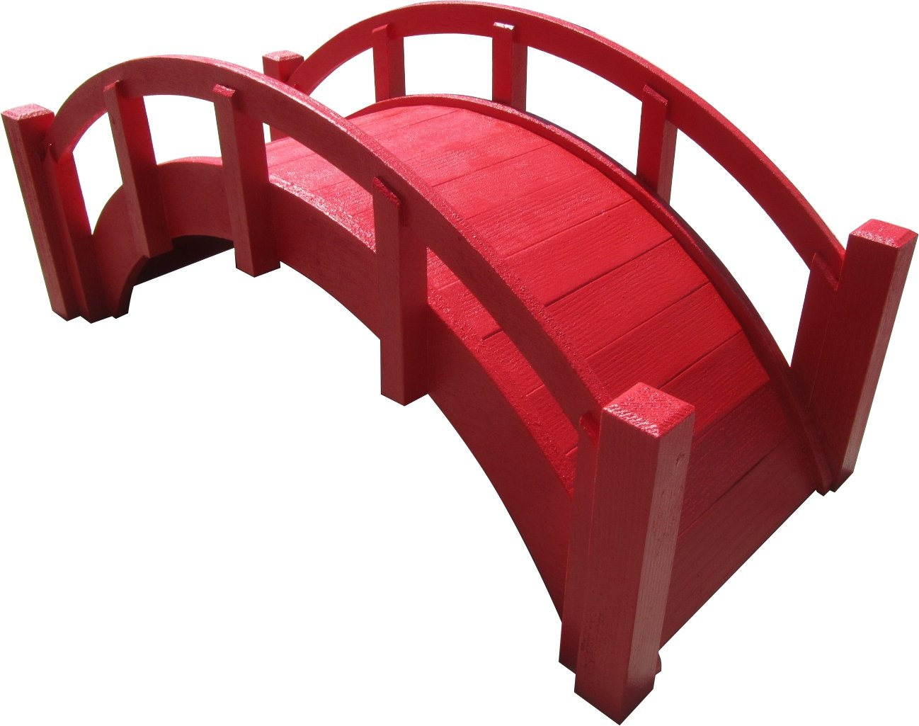 SamsGazebos Miniature Japanese Wood Garden Bridge, Red, Assembled, 25'' Long X 11'' Tall X 11-1/2'' Wide, Made in USA
