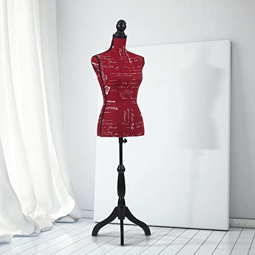 iKayaa Female Dressmakers Mannequin Tailors Display Bust Torso Dress Form Dummy with Wood Tripod Stand Pinnable Red Pattern