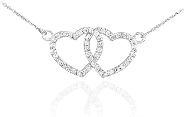 Diamond Double Heart Pendant Sterling Silver Retail 49.95