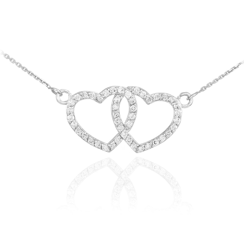 14k White Gold Twin Open Heart Pendant CZ-Studded Gemini Zodiac Necklace