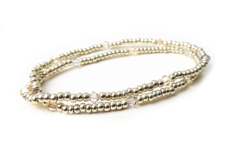 Armband aus Glasperlen Perlenarmband silber zweifach gewickelt filigran