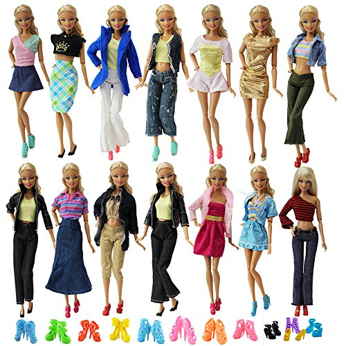 ZITA ELEMENT Lot 10 Set Mix Style Fashion Handmade Clothes Outfit + 10 Pairs Shoes for Barbie Doll XMAS - As To Celebrities Dress Up Fun