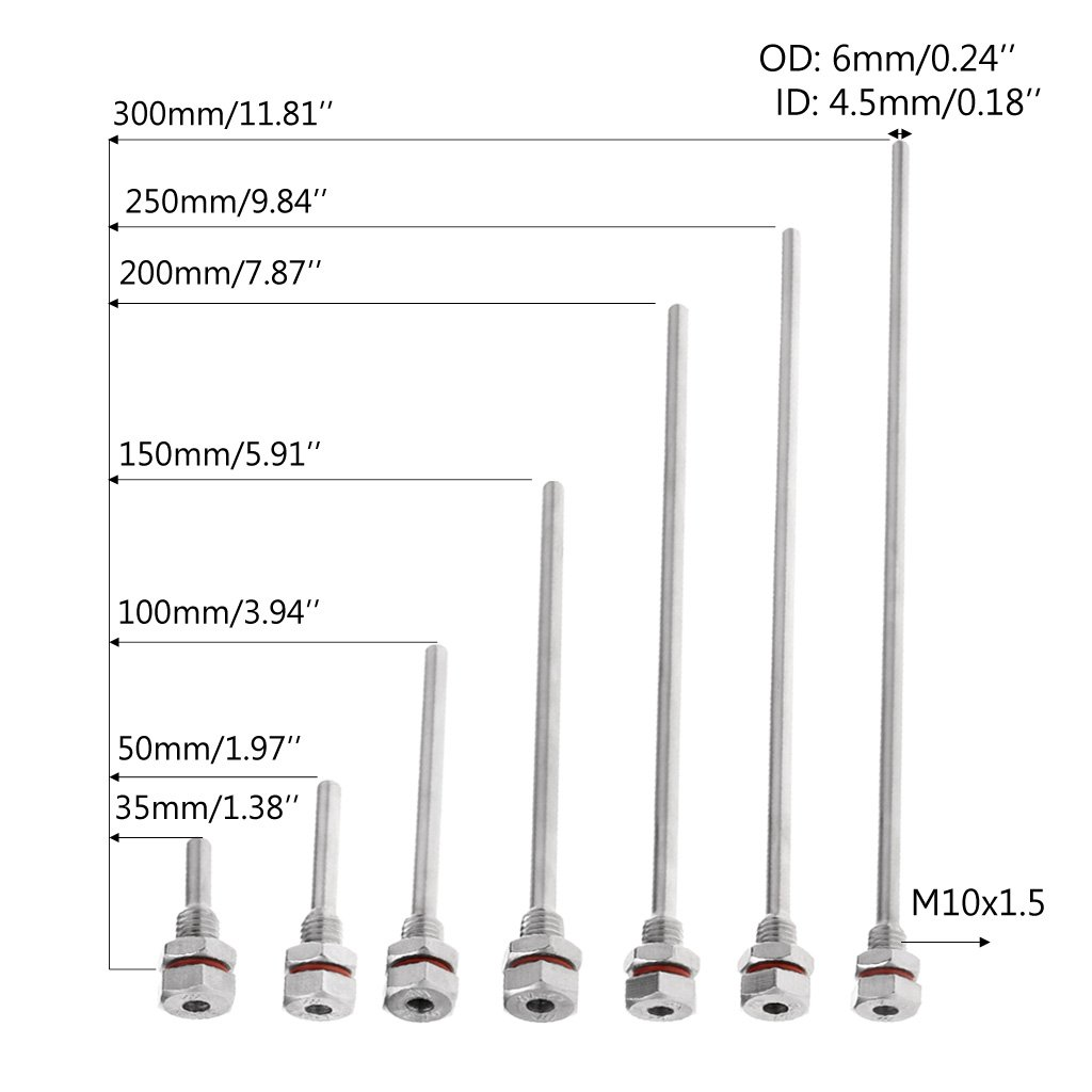 haia7k4k L35-300mm Thermowell Stainless Steel M10X1.5 Thread OD6mm for Temperature Sensor