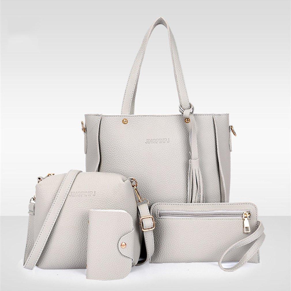 Iumer Women's Shoulder Bags Four Pieces Set Multi-Purpose Handbag Tote Purse Set Handbag Shoulder Bags Tote Bag Crossbody Wallet Gray 4Pcs