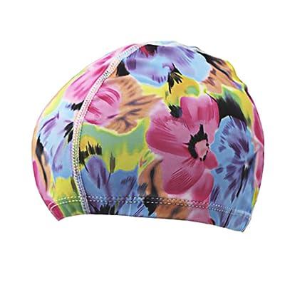 Anna Bonnet de bain Chapeau de natation de mode adulte tissu cheveux longs confortable  bonnet de 734a1cf037b