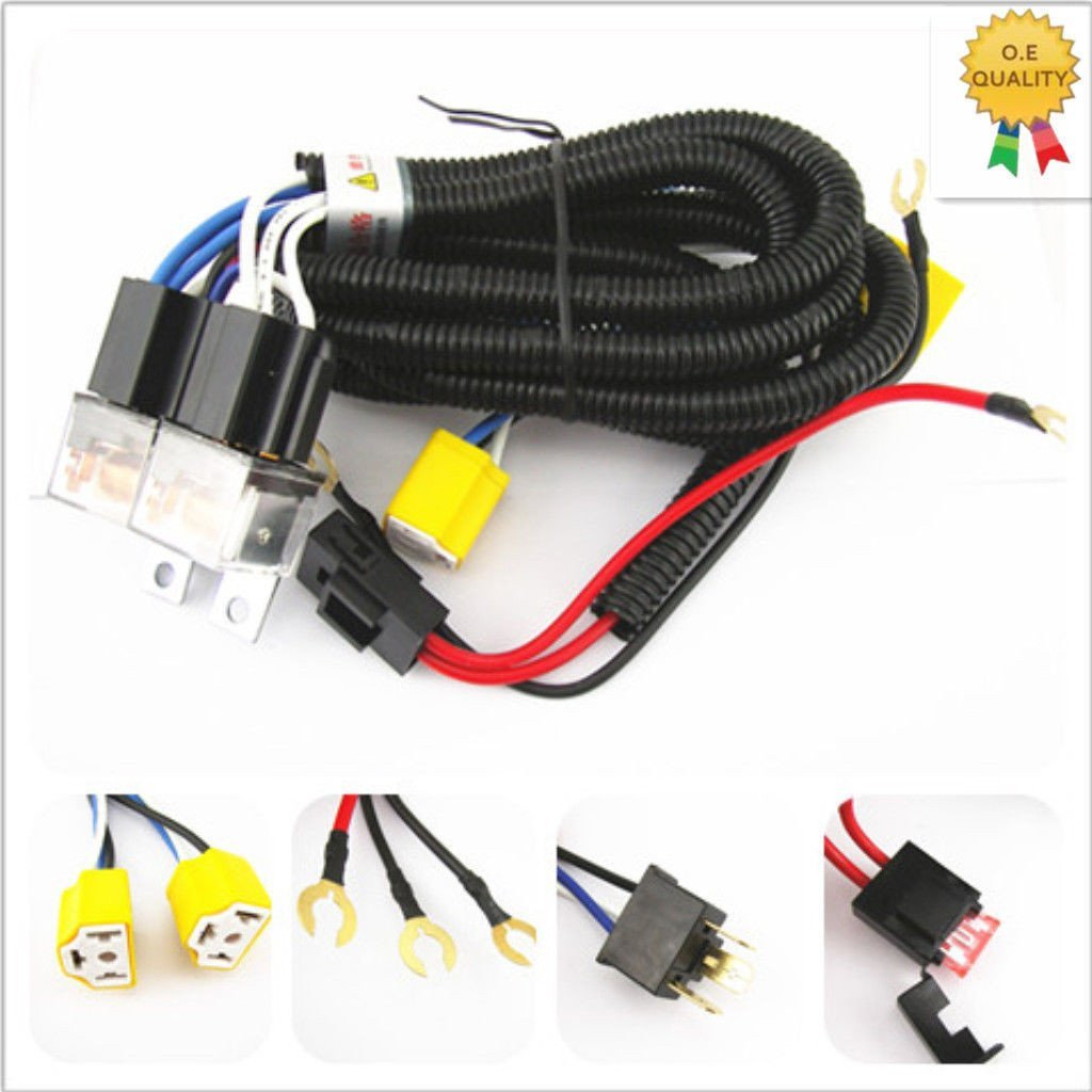 2 Headlight H4 Headlamp Light Bulb Ceramic Socket Plugs Relay Wiring Wire Harness Shipping Kit Free