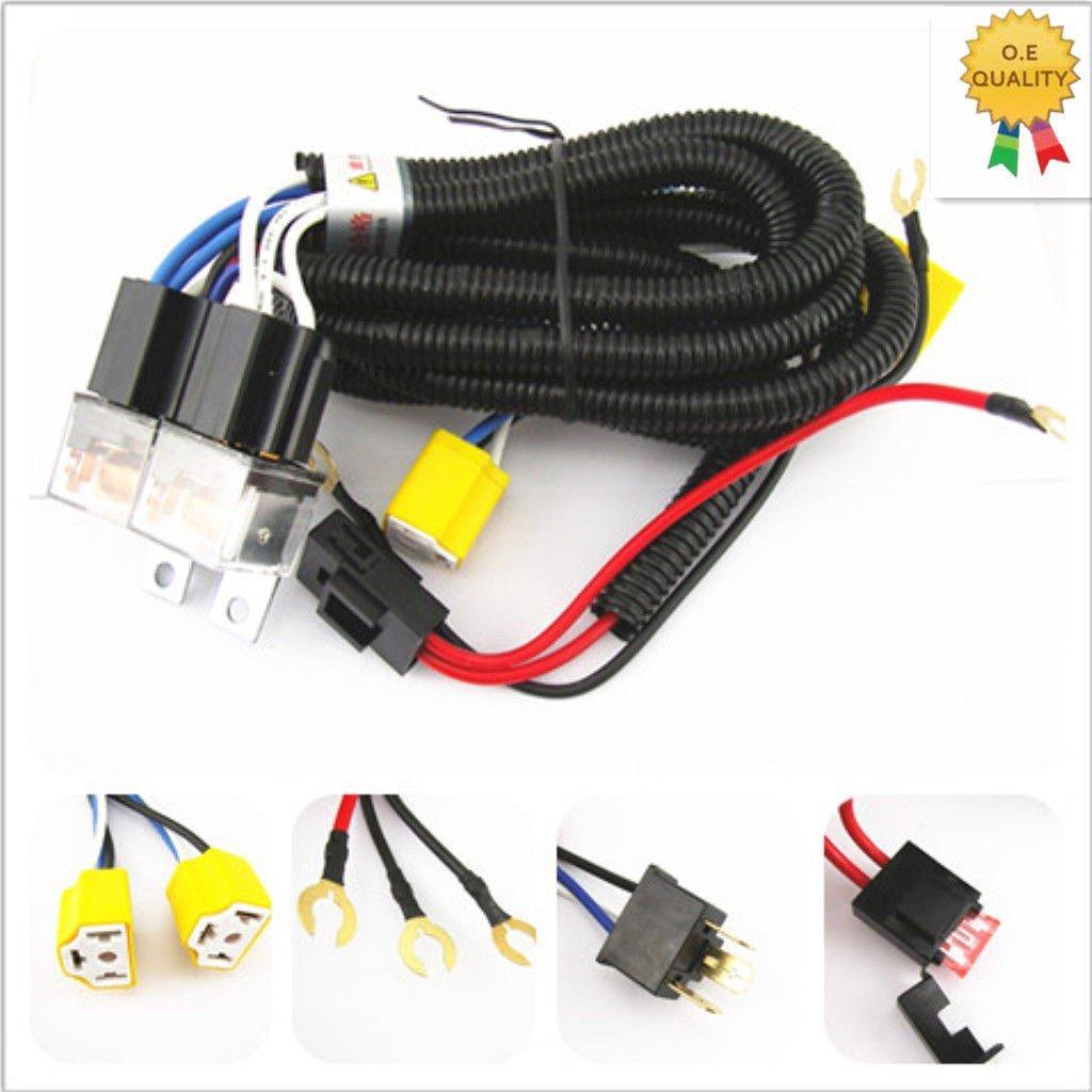 2 Headlight H4 Headlamp Light Bulb Ceramic Socket Plugs Relay Wiring Harness Kit