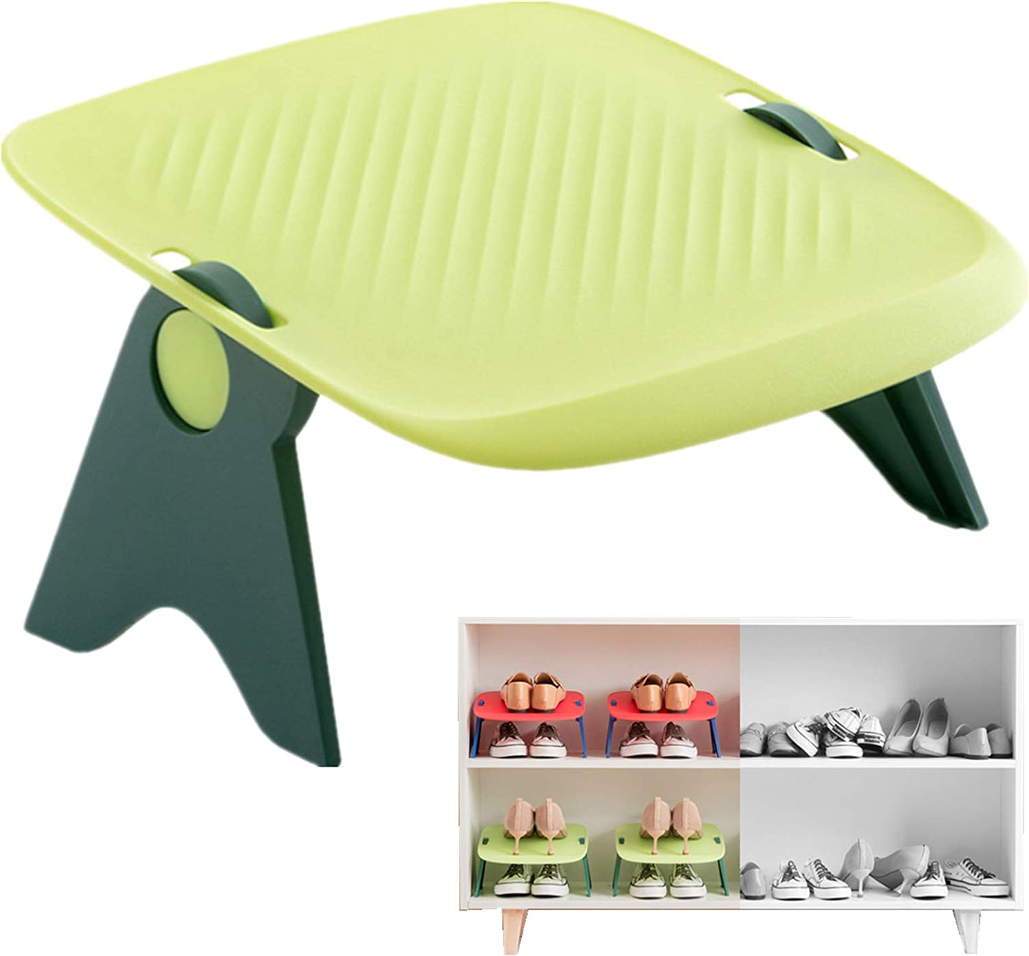 YIMUMU Shoe Slots Organizer Stackable Shoe Rack Holder for Closet 2 Pcs Adjustable Double Birds Deck Shoe Stacker 50% Space Saver Storage Rack Organizer for Home Storage, Green