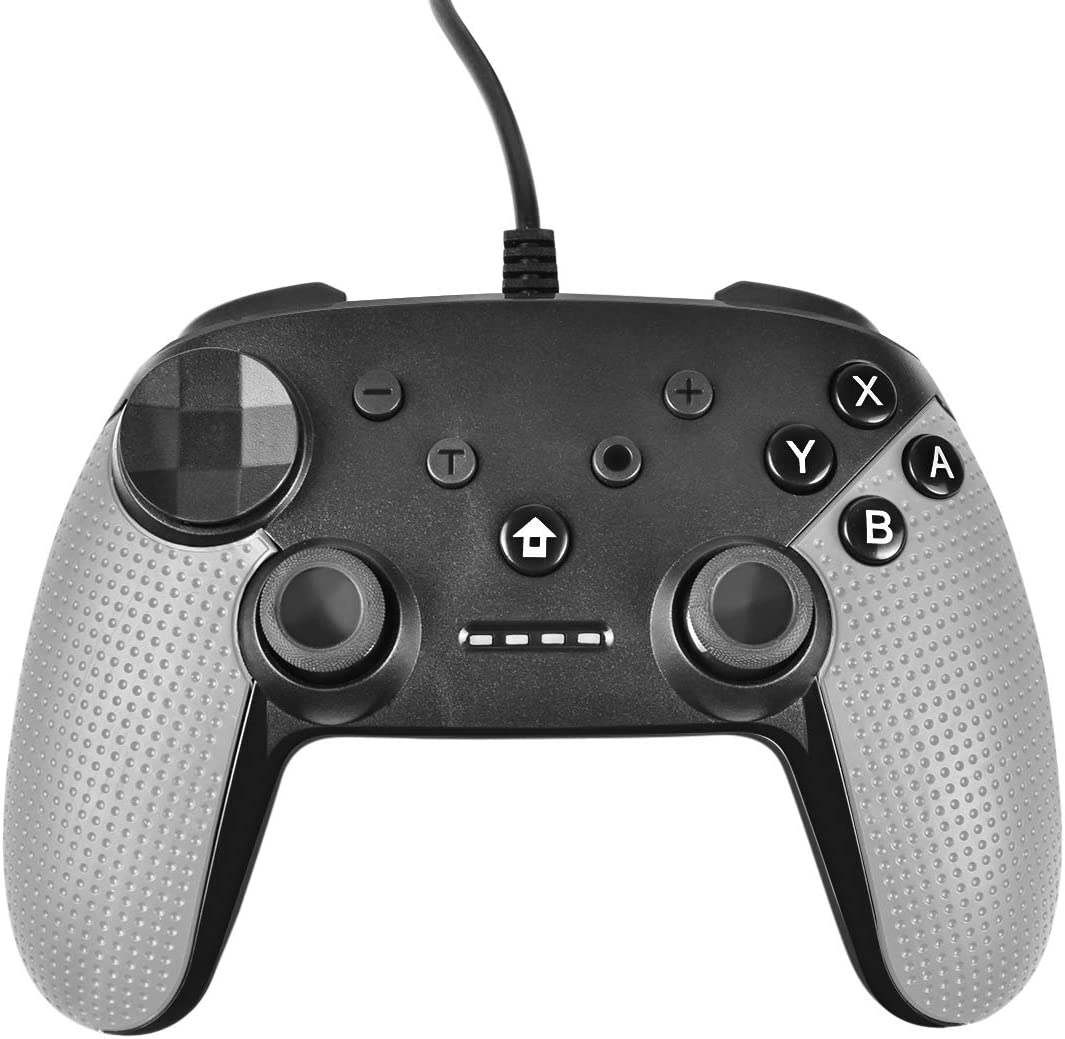 Powtree USB Wired Pro Controller for Nintendo Switch Gyro Axis Motion Controls Vibration Sense Gamepad Compatible with PS3 Windows(10/8.1/8/ 7 / XP) PC(Xinput and Dinput) Android- (Light Grey)