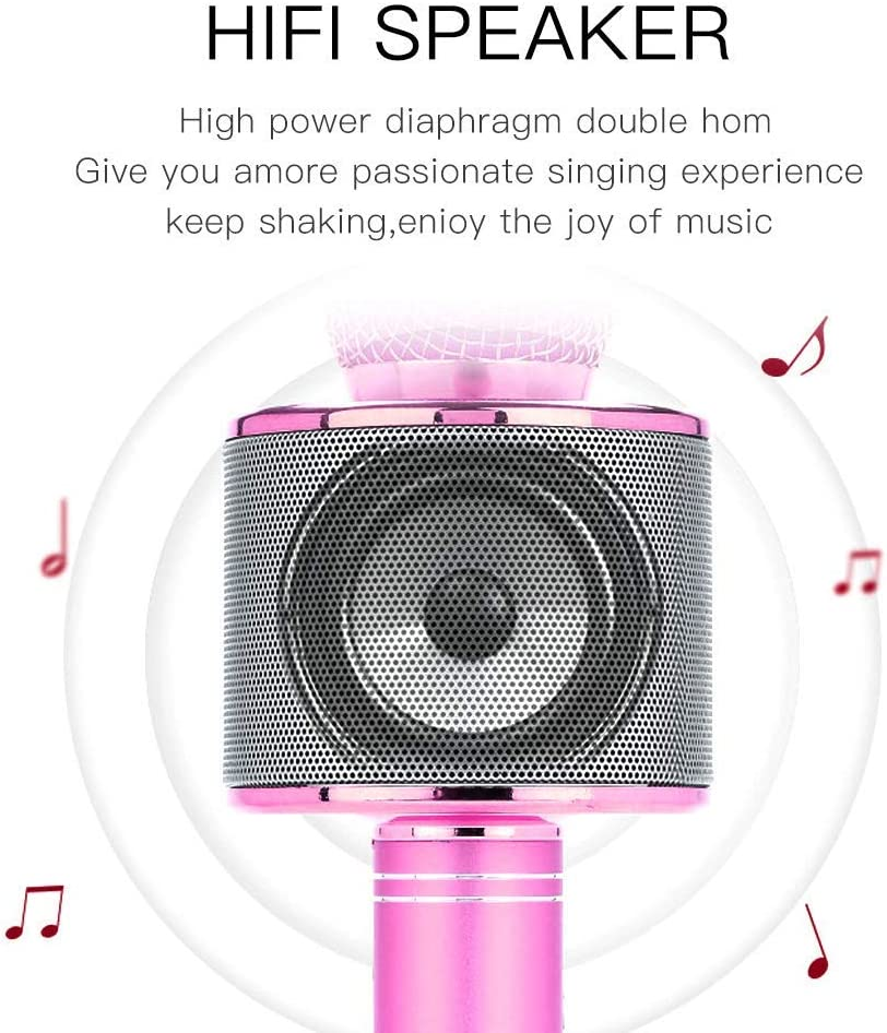 Wireless Bluetooth Karaoke Microphone Kids Adults Rose Gold Portable Handheld Karaoke Speaker Machine Best Gifts for Adults and Kids Birthday Party Home KTV