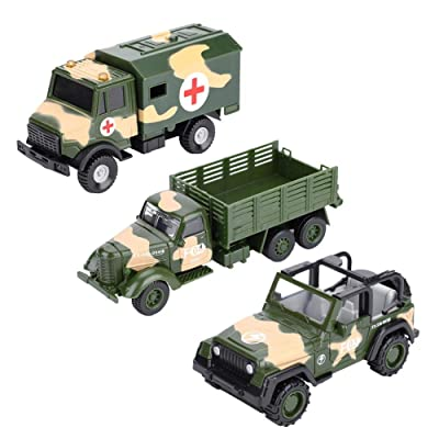 Yosooo Military Vehicle Model Set Army Playset Toy Zinc Alloy Helicopter Tank Truck Jeep Armored Car for Kids Toddlers Boys Gift 3Pcs(B): Home & Kitchen