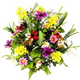 Admired By Nature 36 Stems Artificial Full Blooming Lilac, Daisy & Black Eyed Susan with Foliage Mixed Flowers Bush for Home, Wedding, Restaurant & Office Decor Arrangement, Violet/Cream/Yellow/Red