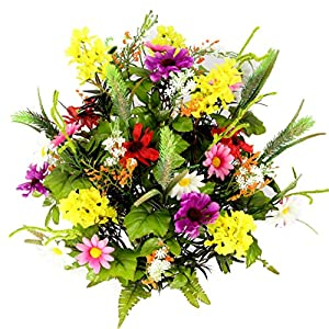 Admired By Nature 36 Stems Artificial Full Blooming Lilac, Daisy & Black Eyed Susan with Foliage Mixed Flowers Bush for Home, Wedding, Restaurant & Office Decor Arrangement, Violet/Cream/Yellow/Red 70