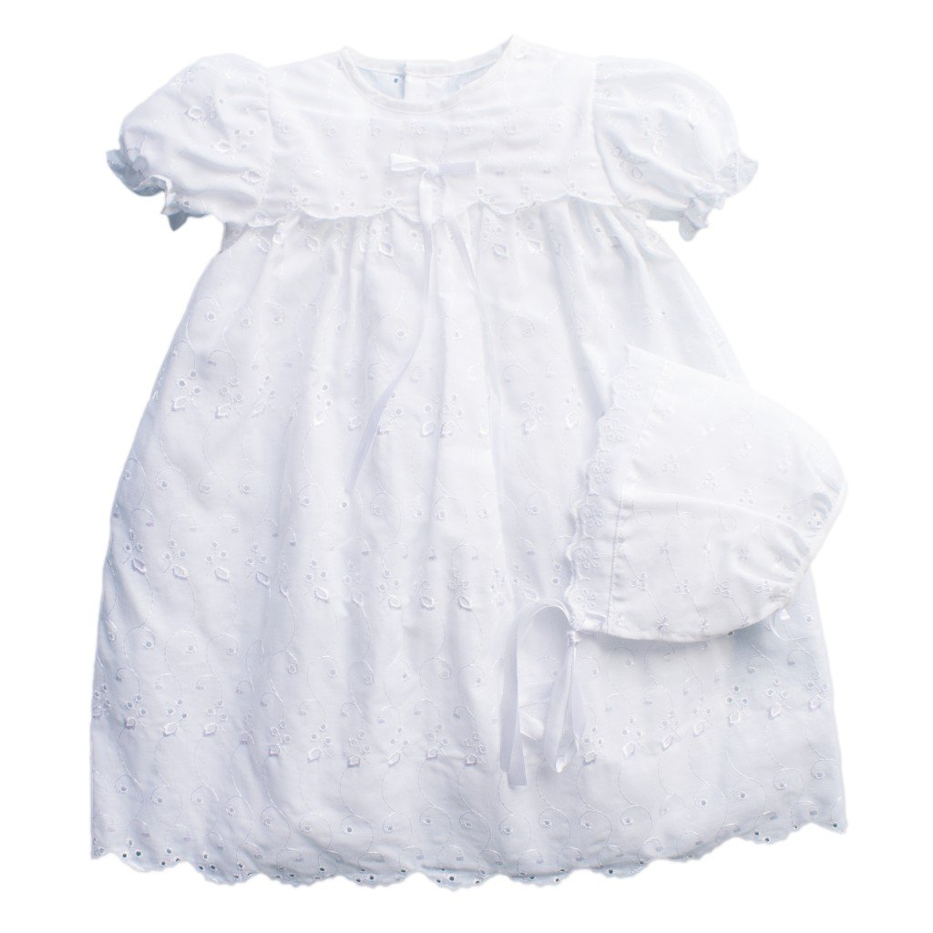 Petit Ami Eyelet Lace Christening Gown with Slip and Hat 2111