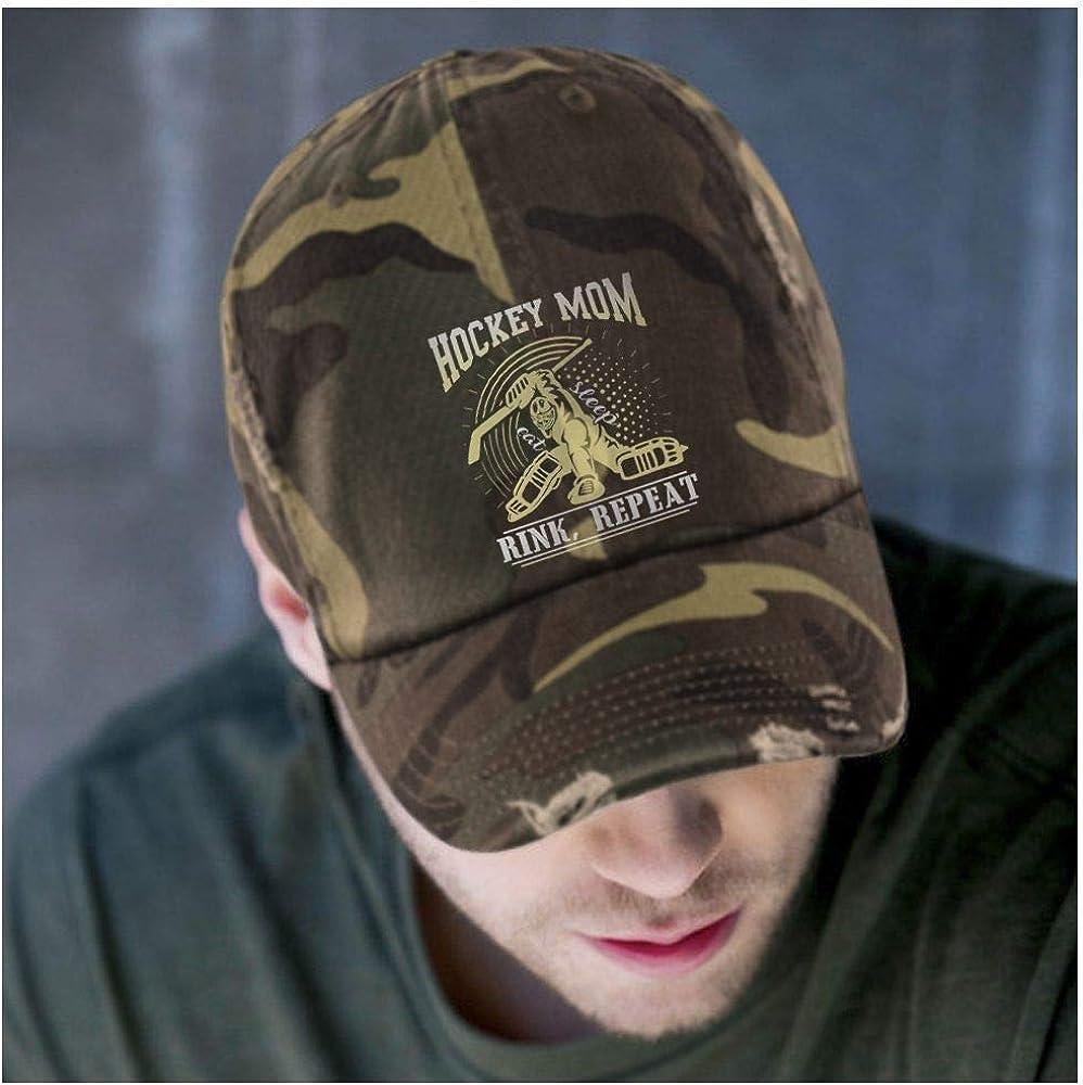 Eat Sleep Rink Repeat District Distressed Dad Cap I Love Hockey Hat