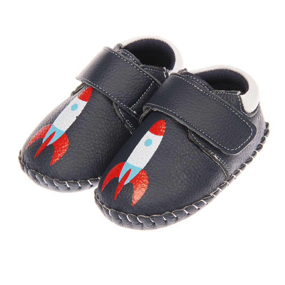 Tortor 1Bacha Infant Baby Boy Girl Space Rocket Leather Soft Sole Loafers Crib Shoes