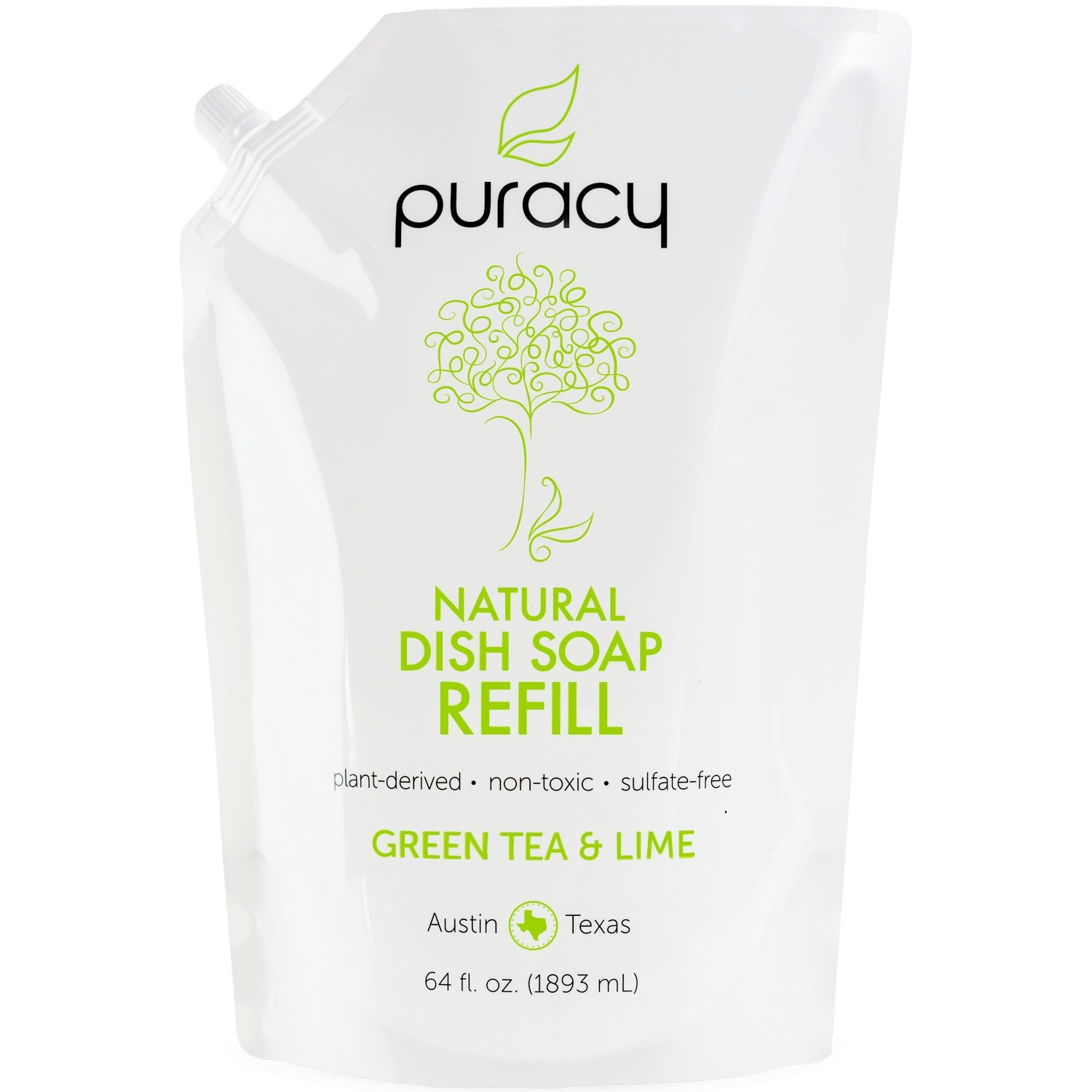 Puracy Natural Liquid Dish Soap Refill, Sulfate-Free Dishwashing Detergent, Green Tea and Lime, 64 Fluid Ounce Pouch