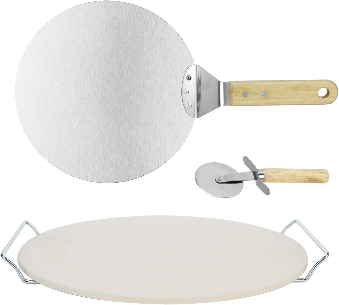 Ibnotuiy Round Pizza Stone Set, 13 Inch Cordierite Round Pizza Stone for Toaster Oven with 10 Inch Stainless Steel Pizza Peel, Pizza Cutter and Serving Rack Set of 4