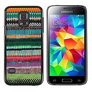 FECELL CITY // Duro Aluminio Pegatina PC Caso decorativo Funda Carcasa de Protección para Samsung Galaxy S5 Mini, SM-G800, NOT S5 REGULAR! // Random Art Pattern Chevron
