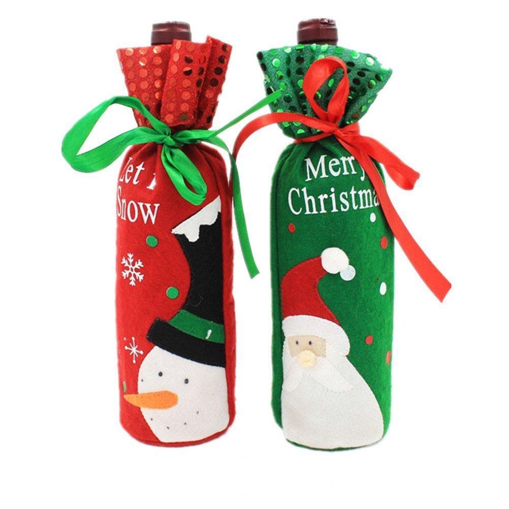 Scrox, decorazione da tavola per bottiglia di vino rosso, sacchettino stile natalizio con viso di Babbo Natale, altezza 30 cm x larghezza 12,5cm, Rouge + Vert, 30*12.5cm 5cm