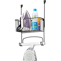 mDesign Metal Over Door Ironing Board Holder with Large Storage Basket - Holds Iron, Board, Spray Bottles, Starch…