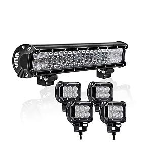 20Inch 126W Spot Flood Combo Led Light Bar 4PCS 4Inch 18W Flood LED Pods Fog Lights for Jeep Wrangler Boat Truck Tractor Trailer Off Road Jeep Truck Car ATV SUV