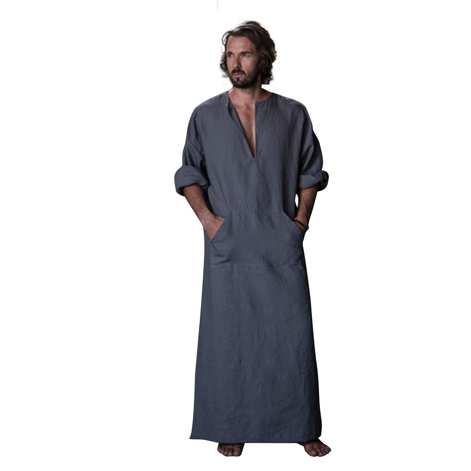 7 VEILS Mens Cotton and Linen Ultra Long Ankle-Length Robe Bathrobe Gown -Greyish Blue-XL