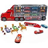 Camión Transportador Coches Juguete para Niños Maletín Portacoches Conjunto Playset Incluye Total de 17 Aleación Vehiculos y Accesorios para Niños y Niñas 3 4 5 Años