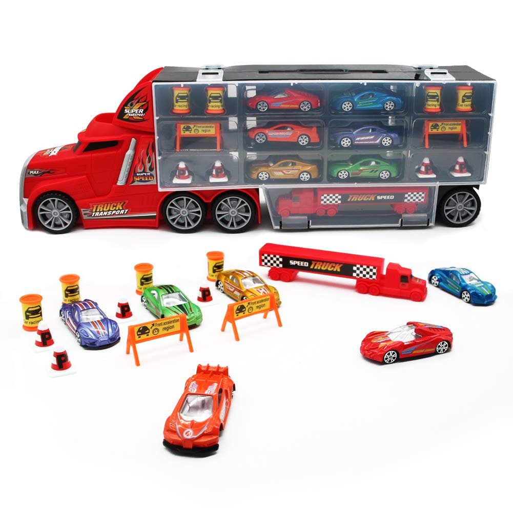 Nuheby Transporter Truck Carrycase for Cars Playset Detachable Carrier Truck Toy Cars Including 17 Mini Mental Die Cast Cars and Accessories- Car Transporter Toy for Boys & Girls 3 4 5 Years Old