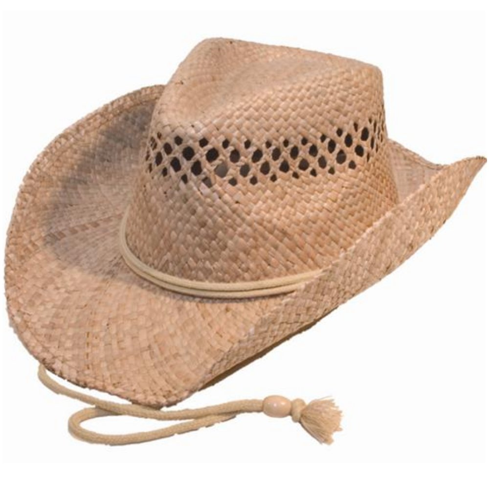 Cappello da cowboy in paglia naturale di alta qualità (taglia unica) modellabile