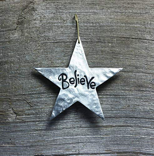 Star Christmas ornament - Believe, word of Inspiration - made in silver pewter, 3-5/8 inches